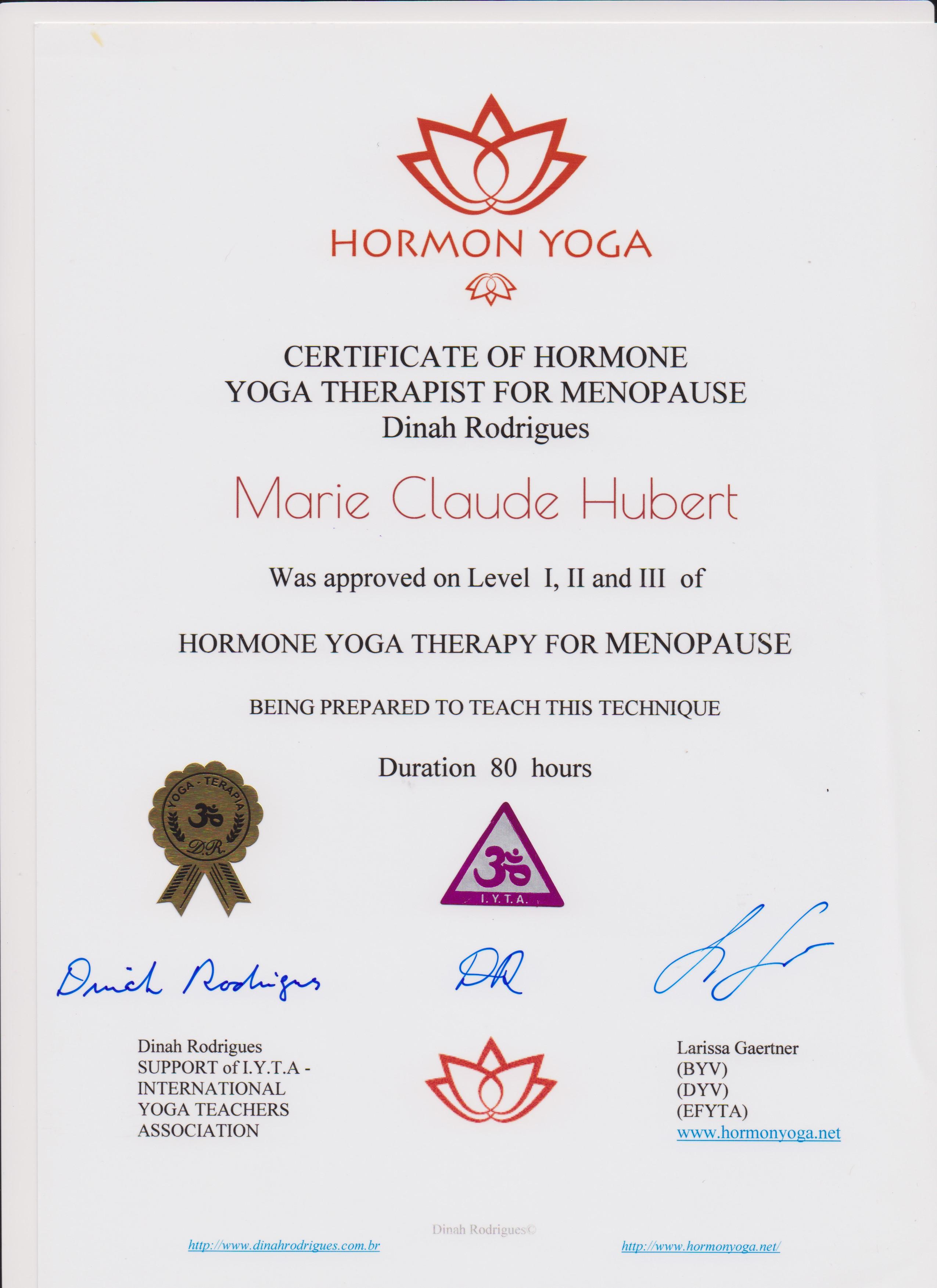 diplome yoga hormones